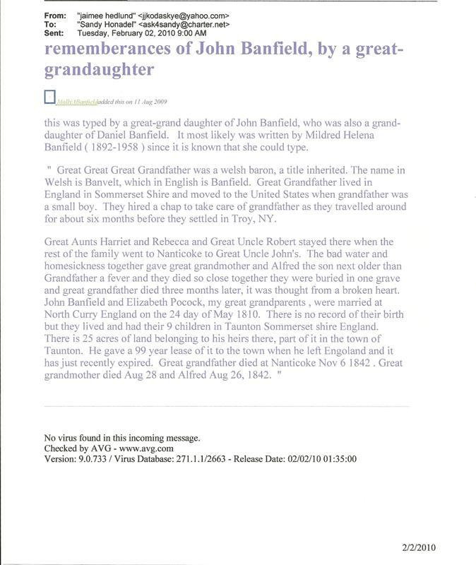 Rememberances of John Banfield by Molly Banfield